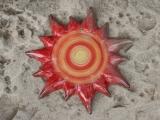 Keramik-Wanddekoration 'Rote Sonne'