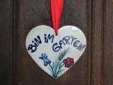 Keramikherz 'Bin im Garten'