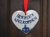 Keramikherz 'Herzlich Willkommen'