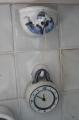 Küchenuhr & Schnurtopf weiß-blau