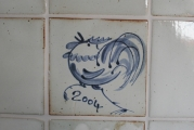 Keramikfliese Jahreszahl weiß-blau
