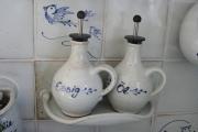 Küchenfliese Essig & Öl weiß-blau