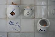 Küchenfliese- Salz Zwiebel Knoblauch weiß-blau