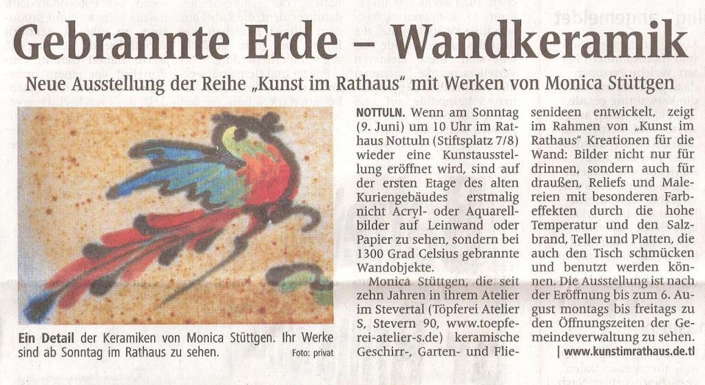 """Kunst im Rathaus """"Gebrannte Erde"""" WN 04.06.2013"""