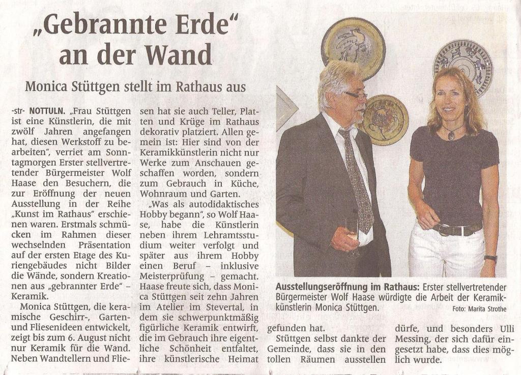"""Kunst im Rathaus """"Gebrannte Erde"""" WN 12.06.2013"""